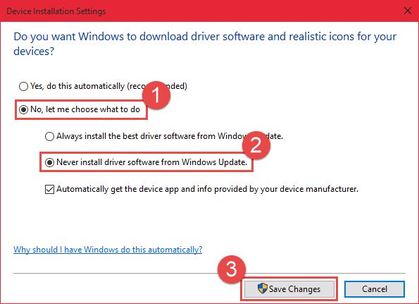 Disable Automatic Driver Updates