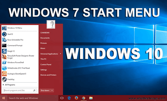Install Windows 7 Start Menu in Windows 10