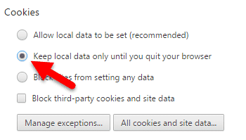 Keep local data chrome