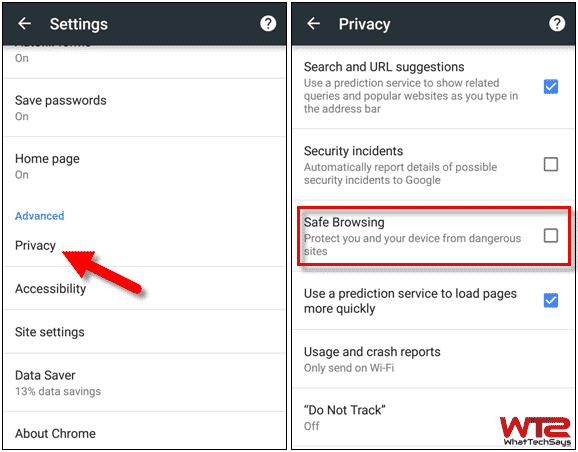 Turn Off Safe Browsing on Android/iPhone
