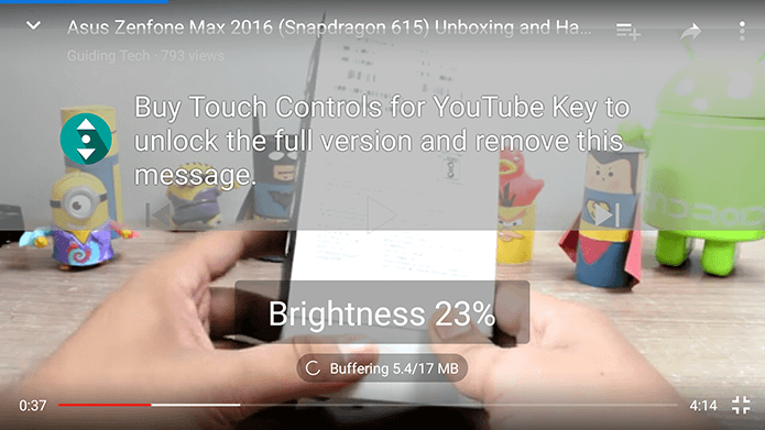 Volume and Brightness Gesture Controls in YouTube for Android
