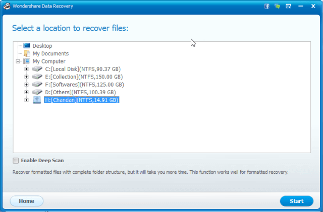 Wondershare Data Recovery Scanning