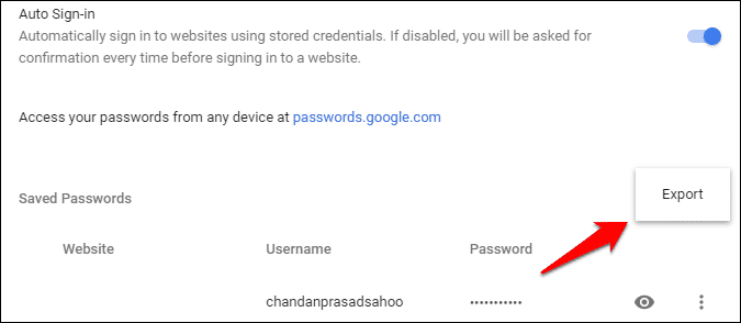 export saved passwords in chrome