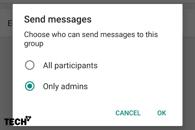 Only Admin to Send Group Messages